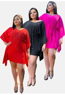 Kit 3 Vestido Curto Casual Tnm Collection Plus Size Social Festa Vermelho Preto Pink