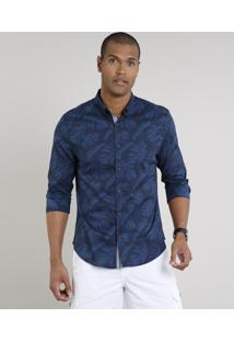 Camisa Masculina Slim Estampada De Folhagem Manga Longa Azul Marinho