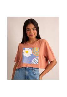 Camiseta Cropped Flores Manga Curta Decote Redondo Rosa Claro
