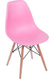 Cadeira Eames Base Madeira E Rosa
