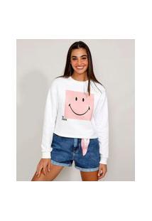 Blusa De Moletom Feminina Smiley Cropped Off White