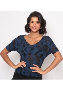 Blusa Devorê Com Rebites- Azul & Preta- Thiptonthipton