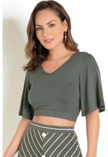 Blusa Cropped Verde Com Mangas Amplas E Decote V