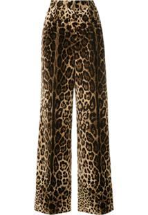 Dolce & Gabbana Calça Pantalona Aveludada Animal Print - Marrom