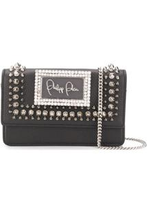 Philipp Plein Stud-Embellished Logo Plaque Shoulder Bag - Preto