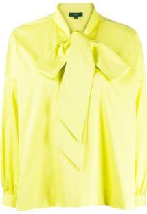 Jejia Blusa Camica Com Laço Na Gola - Amarelo