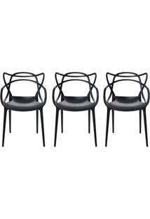 Kit 3 Cadeiras Cozinha Design Allegra Preta