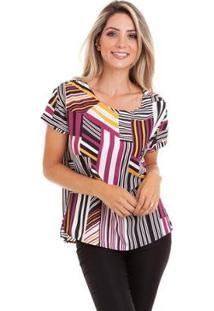 Blusa Kinara Viscose Estampada Com Bolso - Feminino-Roxo