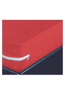 Capa Para Colchao Casal Malha Canelada Vermelha