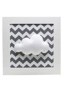Quadro Decorativo Nuvem Chevron Bebê Infantil Potinho De Mel Cinza