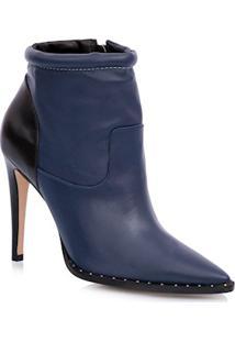 Ankle Boot Salto Fino Azul