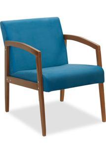 Poltrona Decorativa Malu Suede Azul Royal - D'Rossi