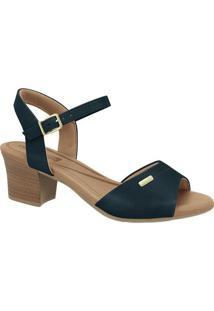 Sandália Com Recortes- Azul Marinho- Salto: 5Cmcomfortflex