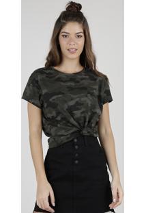 Blusa Feminina Estampada Camuflada Manga Curta Decote Redondo Verde Militar
