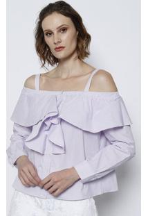 Camisa Listrada Com Babado- Lilás & Brancatvz