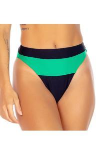 Calcinha Hot Pant Com Recorte - Preta & Verde Água -Use Flee