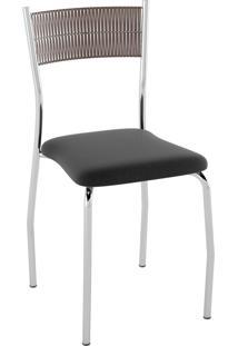 Kit C/ 2 Cadeiras Encosto Tabaco Assento Nobuck Preto Pozza
