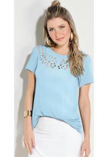 Blusa Com Recortes Vazados No Decote Azul Claro