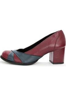 Sapato Boneca Couro Dali Shoes Salto Grosso E Recortes Feminino - Feminino-Vermelho