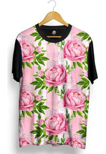 Camiseta Bsc Pink Flower Stripes Full Print - Masculino-Preto
