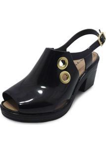 Sandália Boot Sola Baixa Miss Miss Preto