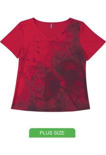 Blusa Manga Curta Com Decote V Vermelho