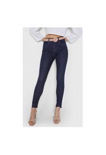 Calça Jeans Lunender Skinny Bolsos Azul-Marinho