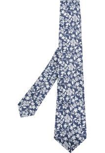 Kiton Gravata De Seda Com Estampa Floral - Azul