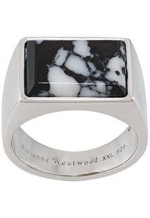Vivienne Westwood Anel Com Logo Gravado - Prateado