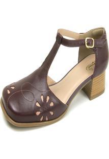 Sandália Salto Baixo Em Couro Miuzzi Chilli / Rose