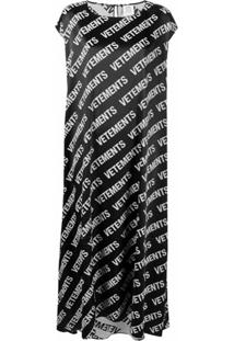 Vetements Vestido Oversized Com Estampa De Logo - Preto
