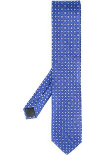 Canali Gravata Com Padronagem Floral - Azul