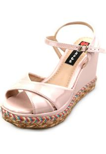 Sandália Love Shoes Alta Trança Corda Colorida Cruzada Verniz Rosa