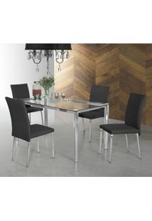 Conjunto Sala De Jantar Mesa Daiane 4 Cadeiras Viana Aço Nobre Móveis Preto