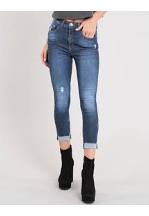 Calça Jeans Feminina Cropped Cintura Alta Com Puídos Azul Médio