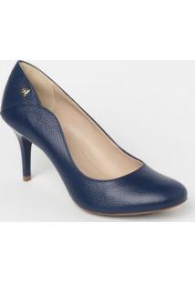 Sapato Tradicional Em Couro Com Recortes & Tag- Azul Marloucos E Santos