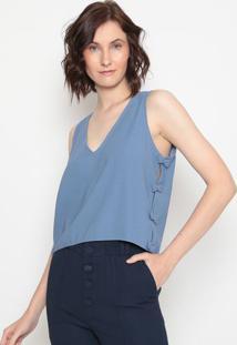 Blusa Com Laços- Azul- Aboutabout