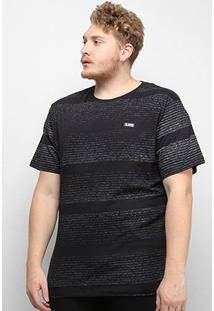 Camiseta Gajang Listrada Estonada Plus Size Masculina - Masculino-Preto
