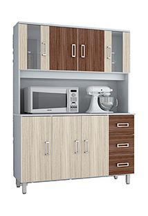 Armário De Cozinha Poliman Móveis Kit Ravena 7 Portas E 3 Gavetas Branco/Rovere Liso/Amêndoa Liso