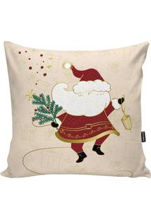 Capa De Almofada Papai Noel- Bege & Vermelha- 45X45Cstm Home