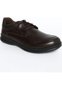 Sapato Social Em Couro Com Pespontos- Marrom Escuromr. Cat