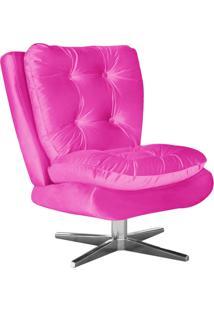 Poltrona Decorativa Tolucci Suede Pink Com Base Giratória Em Aço Cromado - D'Rossi