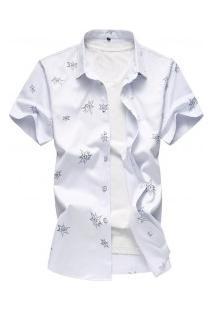 Camisa Masculina Com Estampa De Estrelas - Branco