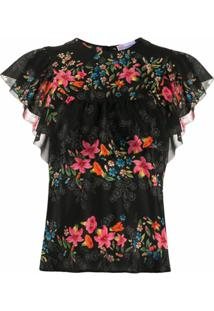 Redvalentino Blusa Com Estampa Floral De Seda - Preto