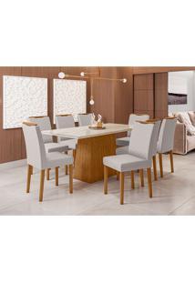 Conjunto De Mesa De Jantar Com Tampo De Vidro Jasmin E 8 Cadeiras Munique Linho Off White