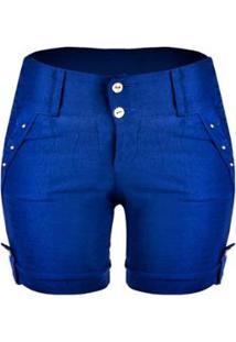 Bermuda Outlet Dri Casual 2 Botões Frontais Spike Bolso - Feminino-Azul