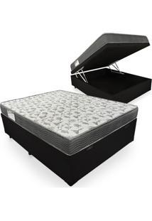 Cama Box Com Baú Viúva + Colchão De Espuma D33 - Ortobom - Iso 100 128X188X60Cm Preto