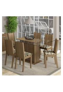 Conjunto Sala De Jantar Madesa Molly Mesa Tampo De Vidro Com 6 Cadeiras Rustic/Bege Marrom