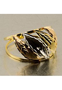 Anel Em Ouro Com Chapa Quadrada Tricolor - An18325