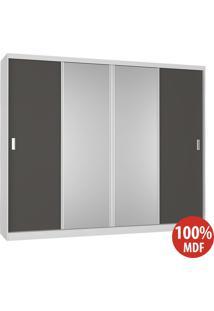 Guarda Roupa 4 Portas Com 2 Espelhos 100% Mdf 794 Branco/Café - Foscarini